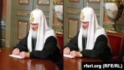 Оригинальная и отредактированная фотографии со встречи Патриарха Кирилла с министром юстиции Александром Коноваловым, 3 июля 2009 года