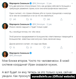 Poza contului de Twitter al Margaritei Simonian