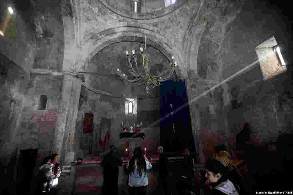 Inside Dadivank, Armenians arrive in large numbers to visit the monastery on November 12.