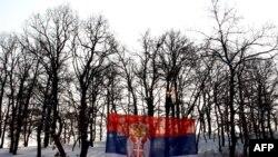 Српското националано знаме меѓу дрвја во северно Косово.