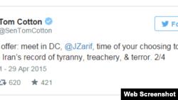 پیام دوم سناتور کاتن به محمد جواد ظریف