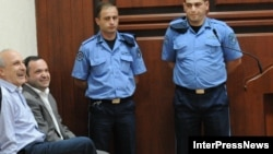 Vano Merabishvili (left) and Zurab Chiaberashvili appear in court in Kutaisi on May 22.