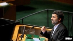 Iranian President Mahmud Ahmadinejad speaks to UN representatives on September 22.