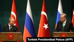 Ռուսաստանի և Թուրքիայի նախագահներ Վլադիմիր Պուտինը և Ռեջեփ Էրդողանը, Անկարա, 11-ը դեկտեմբերի, 2017թ.