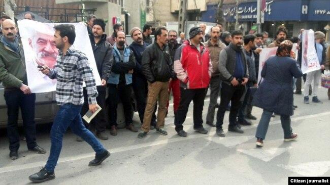 Protest gathering of Gonabadi dervishes in Tehran, February 19, 2018.