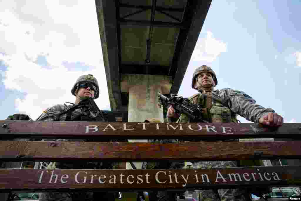 U.S. National Guard troops stand watch in Baltimore, Maryland, on April 28. (Reuters/Eric Thayer)