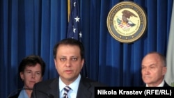 U.S. -- Preet Bharara, U.S. attorney for the Southern District of New York, announces charges against 44 members of an alleged Armenian-American criminal enterprise. 13Oct2010
