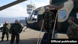Nagorno Karabakh - Armenian President Serzh Sarkisian arrives in Stepanakert, 13Nov2014.