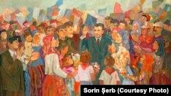 E țara-ntreagă-n sărbătoare. Moment de sărbătoare bihoreană; tablou oferit de Comitetul judeţean de partid Bihor; Sursa: comunismulinromania.ro (MNIR)