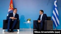 Српскиот претседател Александар Вучиќ и грчкиот премиер Алексис Ципрас во Солун