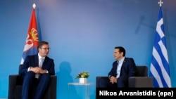 Претседателот на Србија Александар Вучиќ и премиерот на Грција Алексис Ципрас, Солун, 13.07.2017.