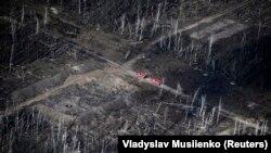 Наслідки вибухів боєприпасів на військових складах поблизу селища Калинівка з повітря, 29 вересня 2017 року