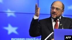 Belgium -- European Parliament President Martin Schulz speaks at a press conference during a European Union summit at the EU headquarters in Brussels, 30Jan2012