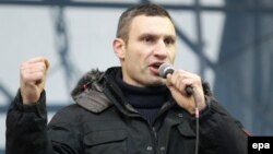 Ukrainian opposition leader Vitali Klitschko (in file photo from a previous rally) urged protesters to keep up the pressure on the government.