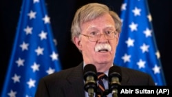 U.S. national-security adviser John Bolton will reportedly say Washington will consider sanctions against ICC judges. (file photo)