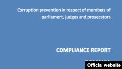 Detaliu al copertei raportului GRECO despre România.
