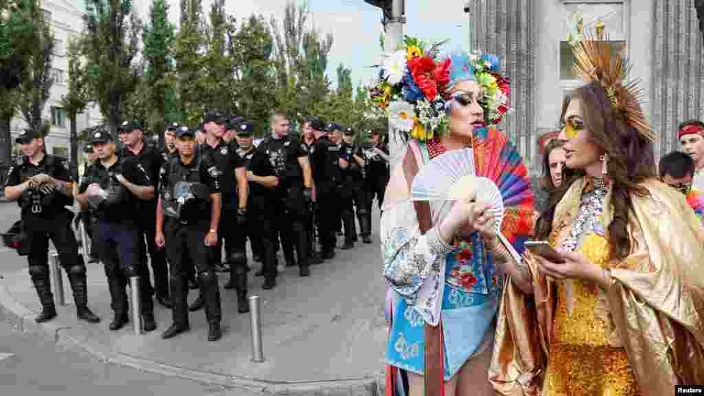 The heavy police presence was deemed necessary as attacks and harassment against gays and other minorities are fairly common in Ukraine.