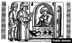 Гравюра «Пакараньне простага чалавека ў калодках», Кракаў, 1578 год
