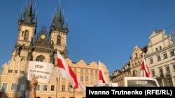 Акція на підтримку протестів у Білорусі, Прага, Чехія, 16 серпня 2020 року