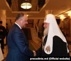 Igor Dodon și Patriarhul Kirill la Moscova, 25 decembrie 2017