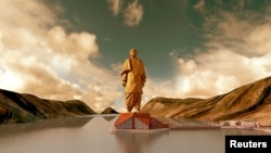 "A video grab shows an artist's rendering of the statue of Sardar Vallabhbhai Patel, dubbed the ""Statue of Unity,"" to be constructed in the western Indian state of Gujarat, in a handout provided by the Information Department Gujarat State."