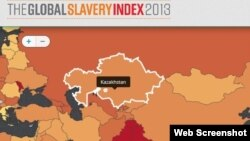 """""""2013 жылғы әлемдегі құлдық индексі"""" баяндамасы картасындағы Қазақстан. (Globalslaveryindex.org сайтынан алынған скриншот). 17 қазан 2013 жыл."""