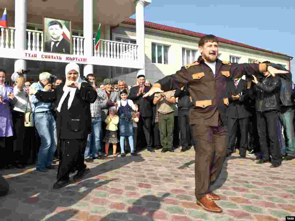 Kadyrov subsequently indulged in some open-air dancing after voting in local elections in Grozny in October 2009.