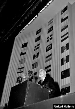 Адам укуктарынын жалпы декларациясынын долбоорун жазгандардын бири, профессор Рене Семуэль Кассен (Франция) БУУнун Башкы ассамблеясынын үчүнчү жыйынында сүйлөөдө. Париж, 10-декабрь, 1948-жыл.
