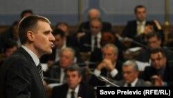 Igor Luksic, Montenegro's new prime minister, speaks in parliament on December 28.