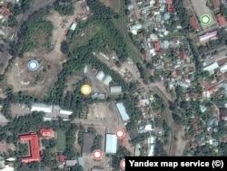 Вид территории бывшей крепости и прилегающего района на фотографии, сделанной со спутника (картографический сервис «Яндекса»).