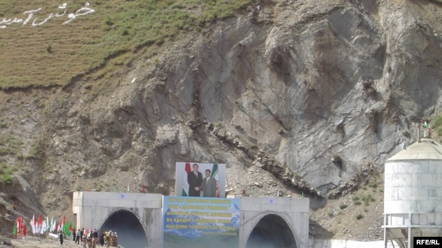 Tajik President Emomali Rahmon and Iranian President Mahmud Ahmadinejad inaugurate an Iranian-built road tunnel north of Dushanbe, one of many projects linking Iran to fellow Persian-speakers to the east.