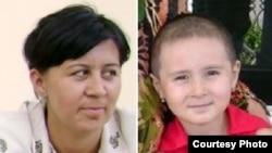Feruza Jumanova (left), the wife of jailed Uzbek journalist Dilmurod Sayyid, and his daughter Rukhshona
