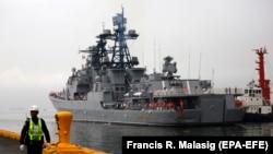 """Российский БПК """"Адмирал Пантелеев"""" в порту Манилы. 20 октября 2017 года."""