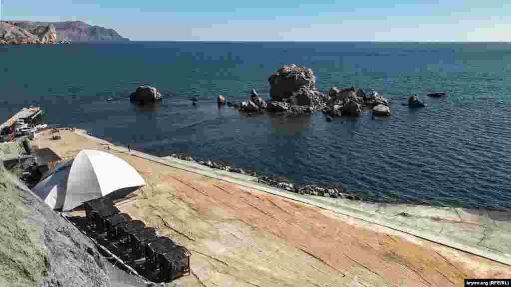 Море в районе Генуэзской крепости в Судаке