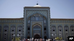 Worshippers gather for Friday Prayers during Ramadan in Dushanbe's Central Mosque