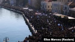 Protesta në ishullin e Lesbos.