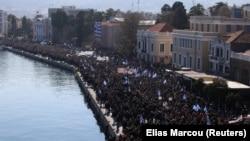 Protest u glavnom gradu Lezbosa, Mitiliniju