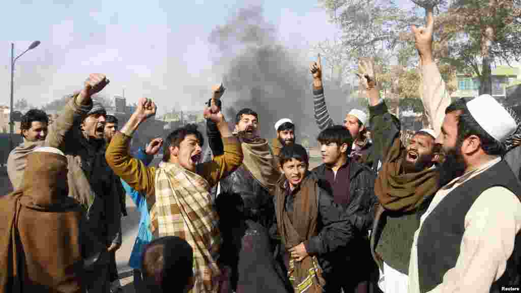 Afghan men shout anti-U.S slogans during a demonstration in Jalalabad Province on February 22. Gunfire wounded at least 26 people during protests in several cities across the country over the burning of copies of the Koran at NATO's main base in Afghanistan. (Reuters/Parwiz)