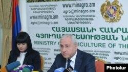 Министр сельского хозяйства Армении Серго Карапетян подводит итоги года на пресс-конференции, Ереван, 25 декабря 2013 г.