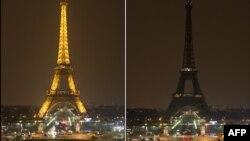 """Ugašena svjetla na Eiffelovom tornju u okviru akcije """"Sat za planet Zemlju"""", Pariz, 2013."""