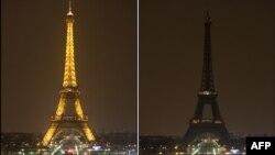 Pamje e Kullës Eiffel në Paris pa drita (djathtas) dhe me drita