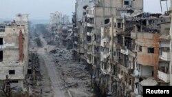 ویرانههای شهر حمص.