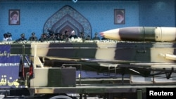 Missiles displayed at a parade in Tehran, Iran.