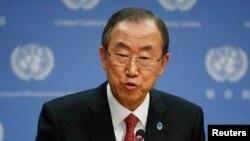 Пан Ґі Мун на прес-конференції у штаб-квартирі ООН у Нью-Йорку, 3 вересня 2013 року