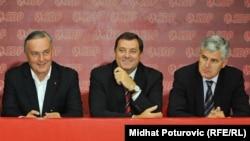 Lideri SDP-a, SNSD-a i HDZ-a BiH Zlatko Lagumdžija, Milorad Dodik i Dragan Čović, septembar 2011.