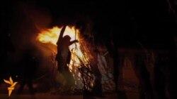 Şamaxının Bakı küçəsində Novruz tonqalı