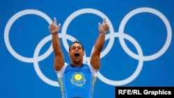 Kazakhstan's Ilya Ilyin celebrates his new world record in the men's 94-kilogram group weightlifting competition at the London Olympics in 2012.
