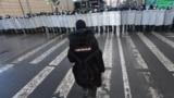 Снимка от протестите в Санкт Петербург, свикани от екипа на Алексей Навални, 31 януари 2021 г.