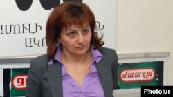 "Armine Ohanian, the editor of the independent Armenian daily ""Hraparak"""