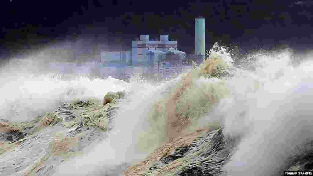 """Оңтүстік Кореяның Чеджудо аралына """"Сулик"""" дауылының жақындауына байланысты теңіз бетінде көтерілген асау толқындар. 22 тамыз 2018 жыл"""